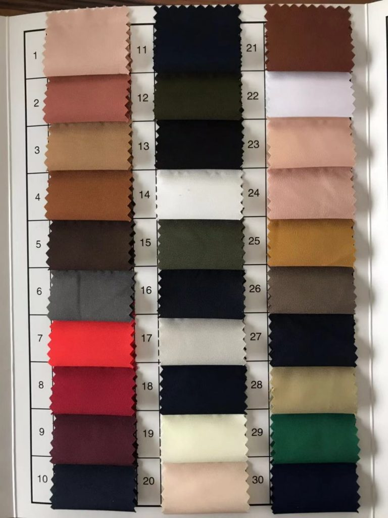 Polyester 75D Microfiber Stretch Fabric Waterproof 78 gsm color card 1